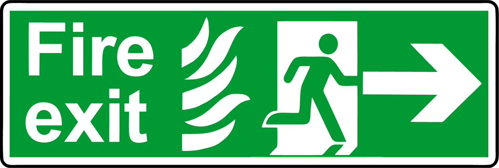 Double Sided Hanging NHS Fire exit sign