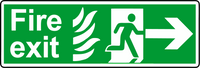Double sided hanging sign NHS fire exit right sign