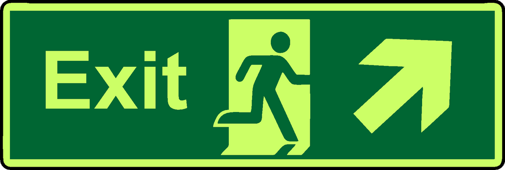 Exit diagonal straight right photoluminescent sign