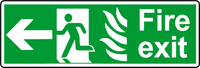NHS fire exit left sign