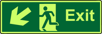 Exit diagonal down left photoluminescent sign