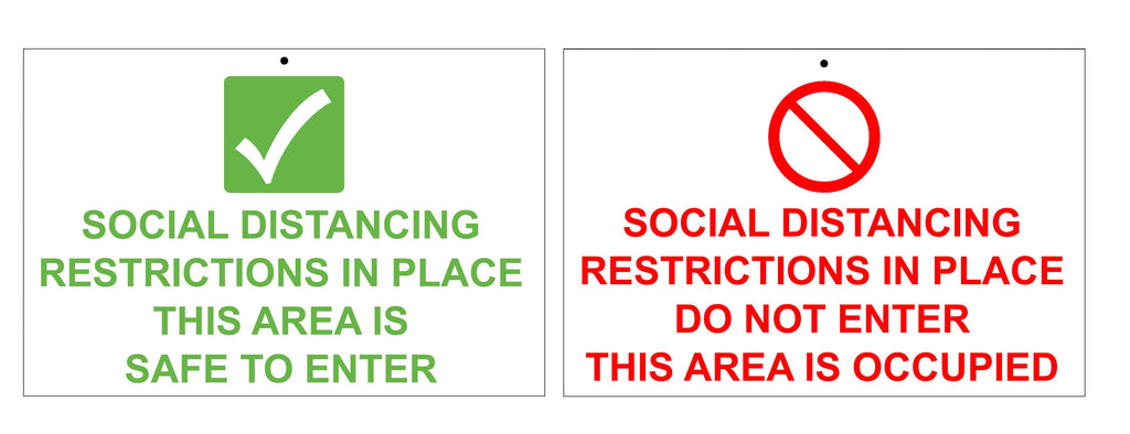 Social distancing in place double sided sign
