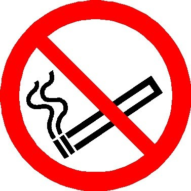 Double sided window sticker No Smoking symbol sign