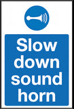 Slow down sound horn sign