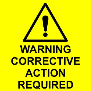 Warning corrective action required labels