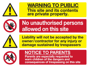 Warning to the public site safety sign