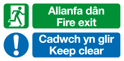 Allanfa dan Fire exit Cadwch yn glir Keep Clear Welsh/English sign