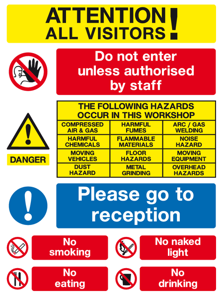 Attention all visitors sign | Visitors safety sign | MJN Safety Signs