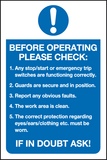 Before operating please check sign - MJN Safety Signs Ltd