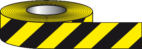 Black and yellow self-adhesive pvc tape