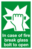 In case of fire break glass bolt to open sign
