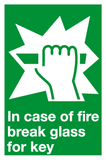 Break glass for key sign
