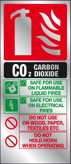Carbon dioxide fire extinguisher instructions prestige sign - MJN Safety Signs Ltd