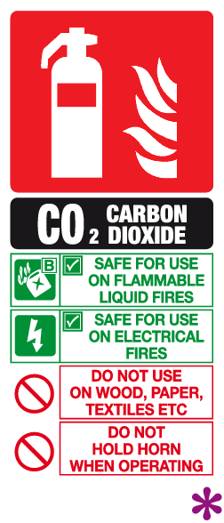 Carbon dioxide fire extinguisher ID sign