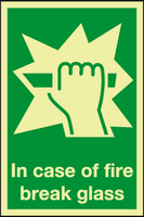In case of fire break glass Photoluminescent sign