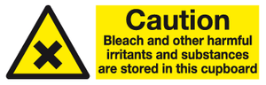 Caution Bleach safety sign - MJN Safety Signs Ltd