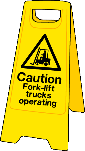 Double sided plastic floor stand Caution fork-lift trucks
