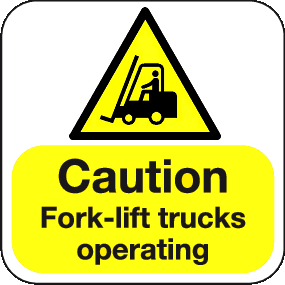 Caution Fork-lift trucks operating floor graphic sign
