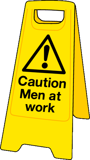 Double sided plastic floor stand Caution men at work