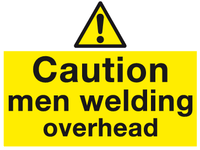 Caution men welding overhead sign