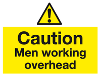 Caution Men working overhead sign - MJN Safety Signs Ltd