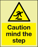 Caution mind the step Photoluminescent sign - MJN Safety Signs Ltd