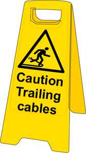 Double sided plastic floor stand Caution trailing cables