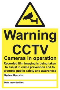 Warning CCTV cameras in operation recorded film sign