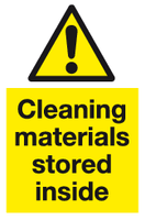 Cleaning materials stored inside sign - MJN Safety Signs Ltd