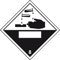 Corrosive label with blank space - MJN Safety Signs Ltd