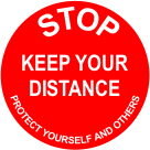 Stop keep your distance graphic floor sign