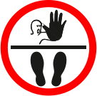 Stop no entry graphic floor sign