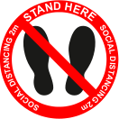 Stand here floor graphic sign