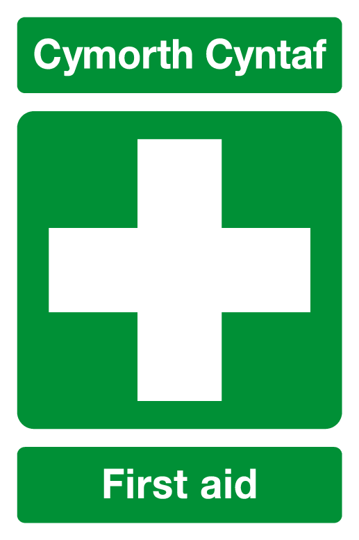 Cymorth Cyntaf First aid Welsh/English sign