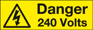 Danger 240v label