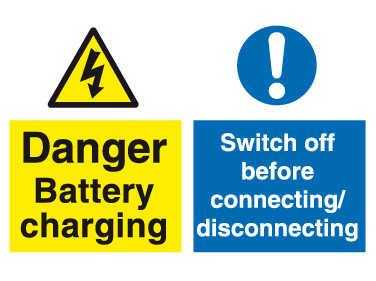 Danger Battery charging Switch off before connecting/disconnection sign