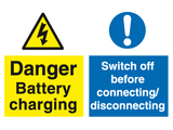 Danger battery charging switch off