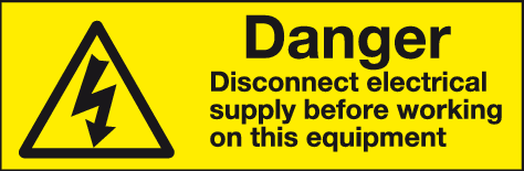 Danger Disconnect electrical supply before working on this equipment label (pack of 10 labels)
