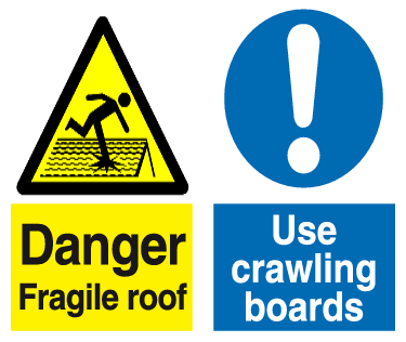 Danger Fragile roof Use crawling boards combo sign