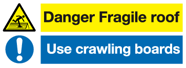 Danger Fragile roof Use crawling boards sign