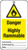 text Danger Highly flammable tie-on-tags