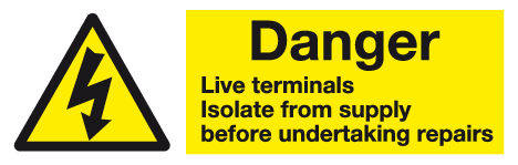 Danger live terminals warning labels