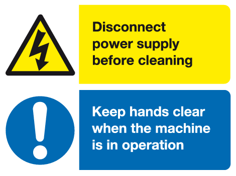 Warning Mandatory Disconnect power supply machine sign