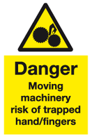 Danger moving machinery risk of trapped hand/fingers sign