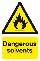 Dangerous solvents sign