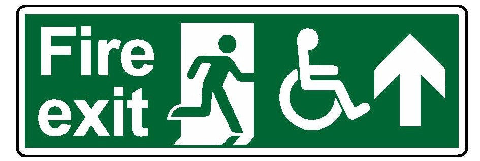 Fire exit wheelchair access ahead sign