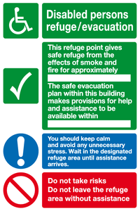 Disabled persons refuge / evacuation sign