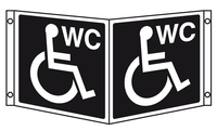 Disabled toilet projecting sign