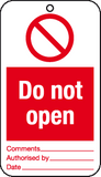 text Do not open tie-on-tag