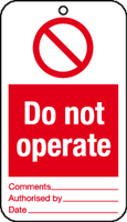 Do not operate tag